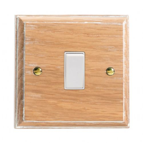 Varilight XK20LOW Kilnwood Limed Oak 1 Gang 20A Double Pole Switch